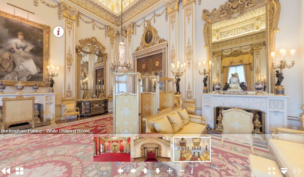 Screenshot of virtual tour to Buckingham Palace, featuring White Drawing Room