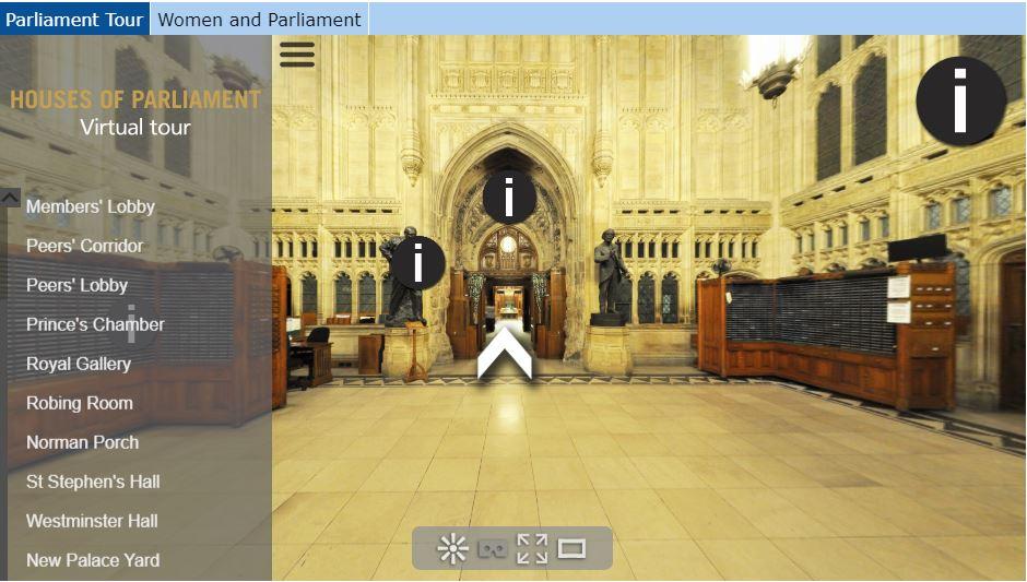 Screenshot of Parliament virtual tour