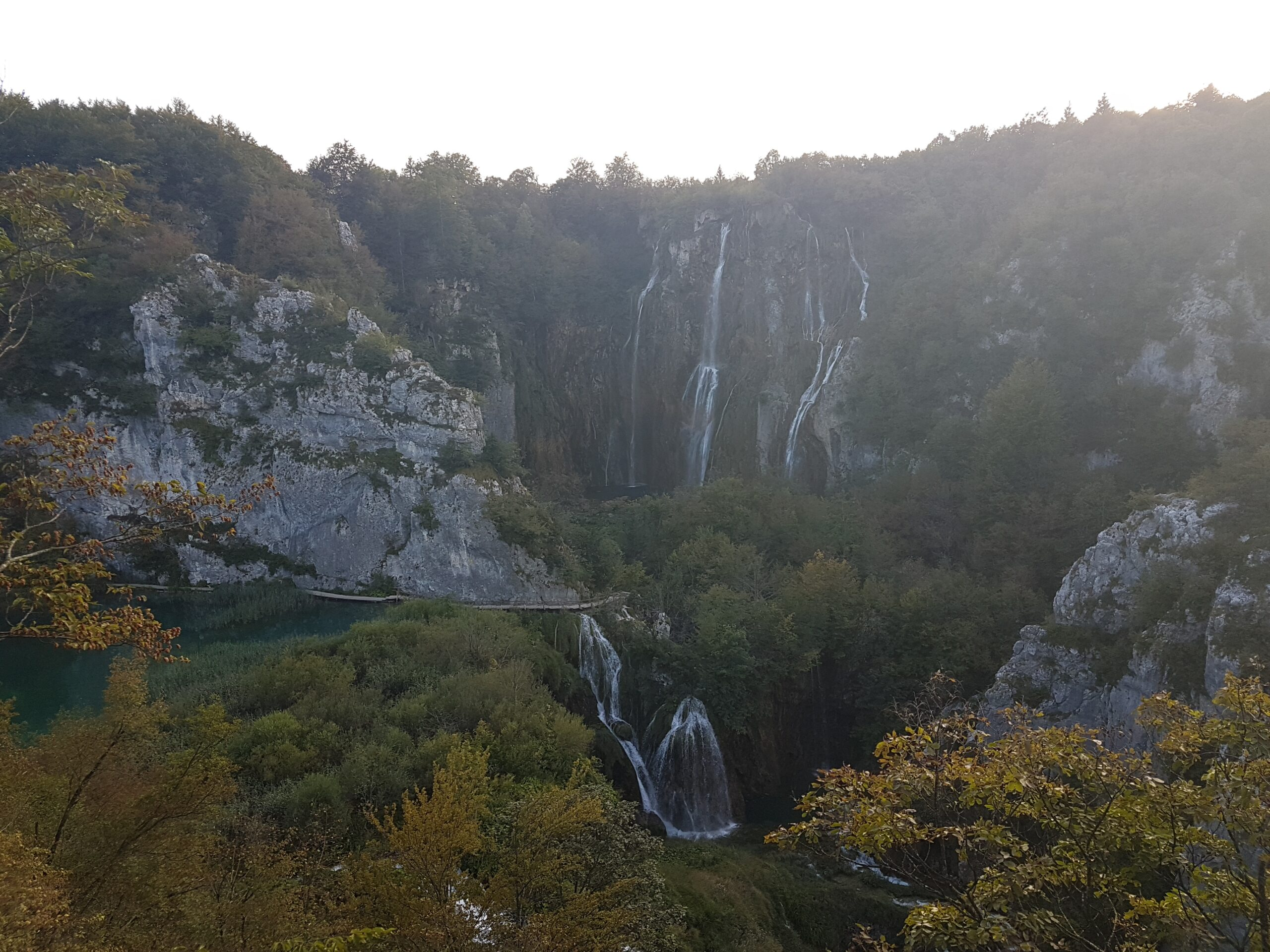 Plitvice Lakes National Park, evening, waterfalls, scenery, view