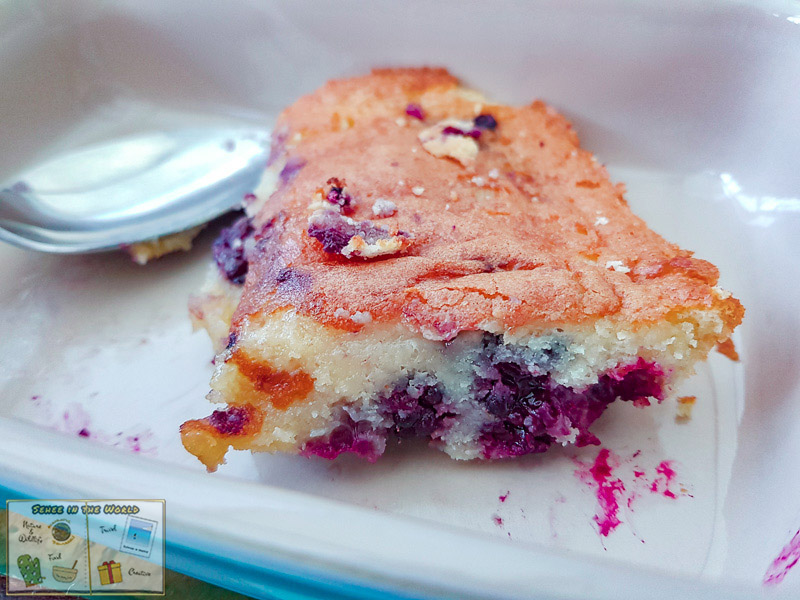 Homebaked blackberry clafoutis using wild blackberries we picked - photo taken by me, Sehee in the World