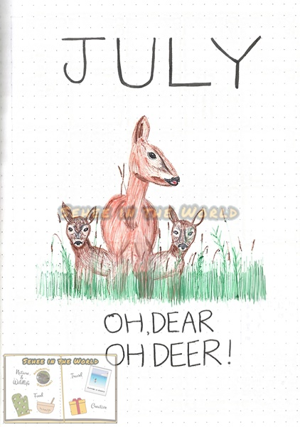 Bullet journal cover ideas for wildlife lovers - my July page design: deer family, drawn by. Sehee in the World