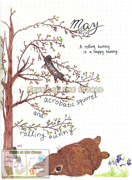 Bullet journal cover ideas for wildlife lovers - my May page design: acrobatic squirrel and rolling bunny, drawn by. Sehee in the World